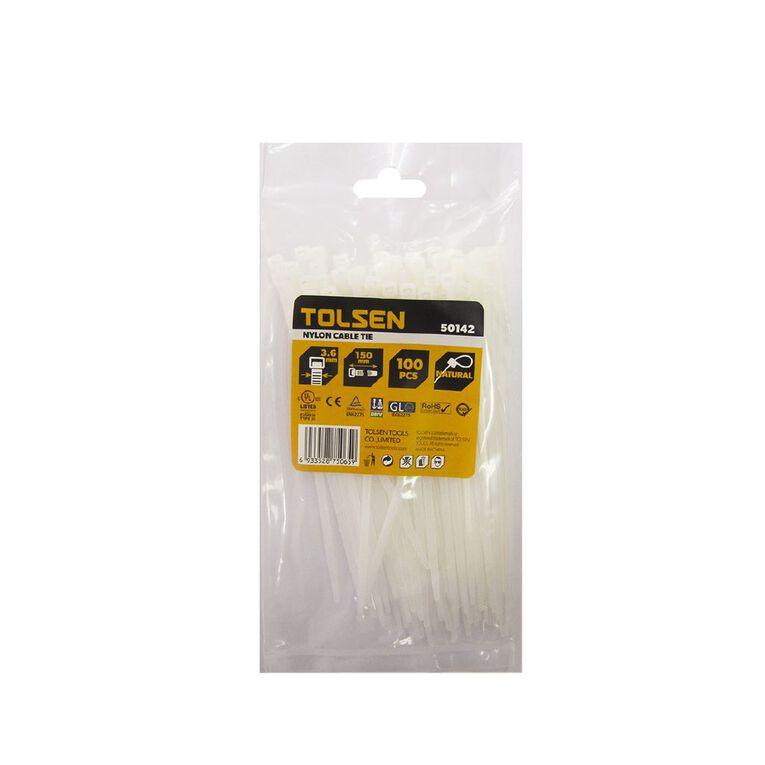 Tolsen Cable Tie 150mm x 3.6mm 100 Pack Natural, , hi-res