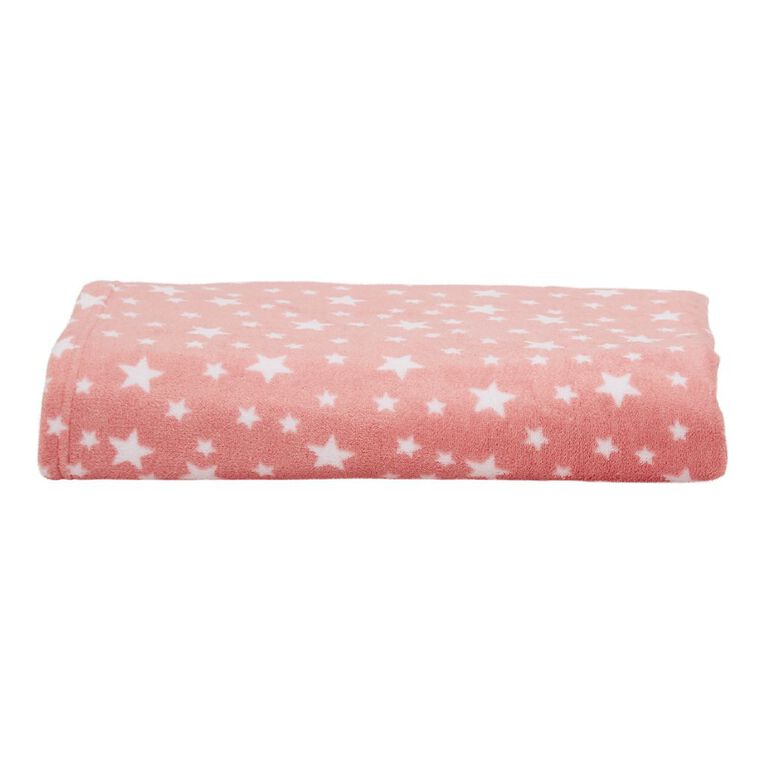 Living & Co Kids Throw Coral Fleece Starlight Pink One Size, , hi-res