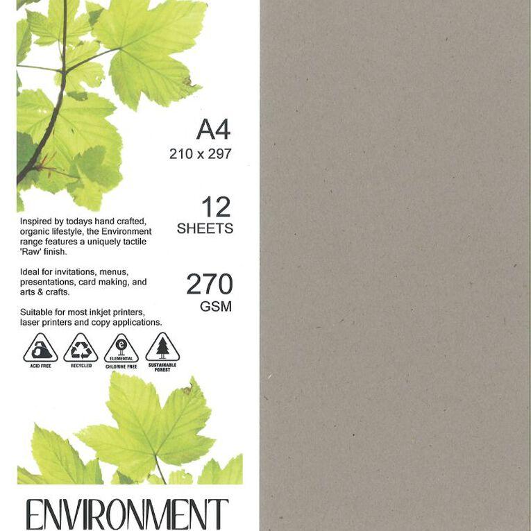Direct Paper Enviro Board 270gsm 12 Pack Concrete Grey A4, , hi-res