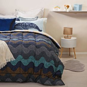 Living & Co Kids Comforter Set Ocean Wave Blue King Single