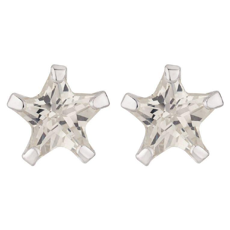 Sterling Silver CZ Star Stud Earrings, , hi-res