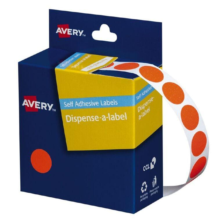 Avery Fluoro Red Dispenser Dot Stickers 14mm diameter 700 Labels, , hi-res