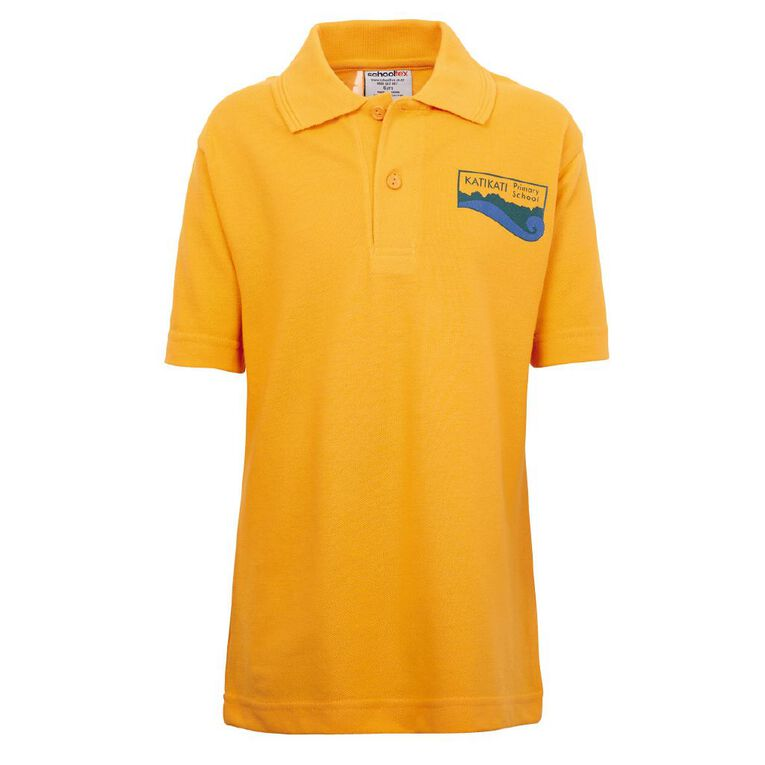 Schooltex Katikati Short Sleeve Polo with Transfer, Gold, hi-res