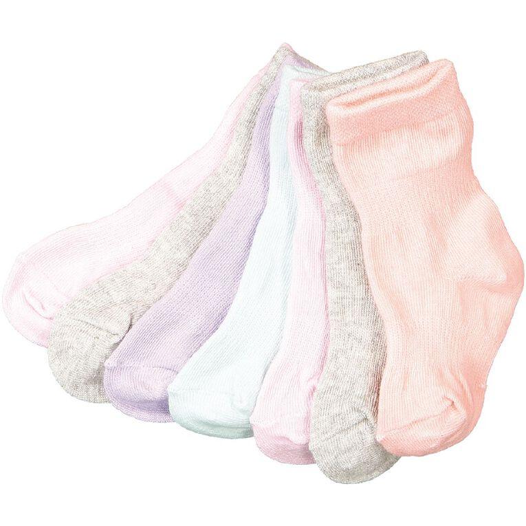 H&H Infants Girls' Plain Stay On Crew Socks 7 Pack, Multi-Coloured, hi-res