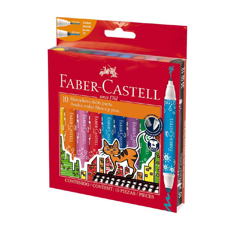 Faber-Castell Double Ended Fibre Tip Markers Wallet of 10, , hi-res