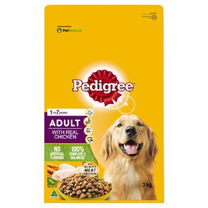 Pedigree Adult Dry Dog Food With Real Chicken 3kg Bag