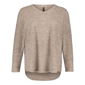 H&H Plus Women's Brushed Knit V Neck Top