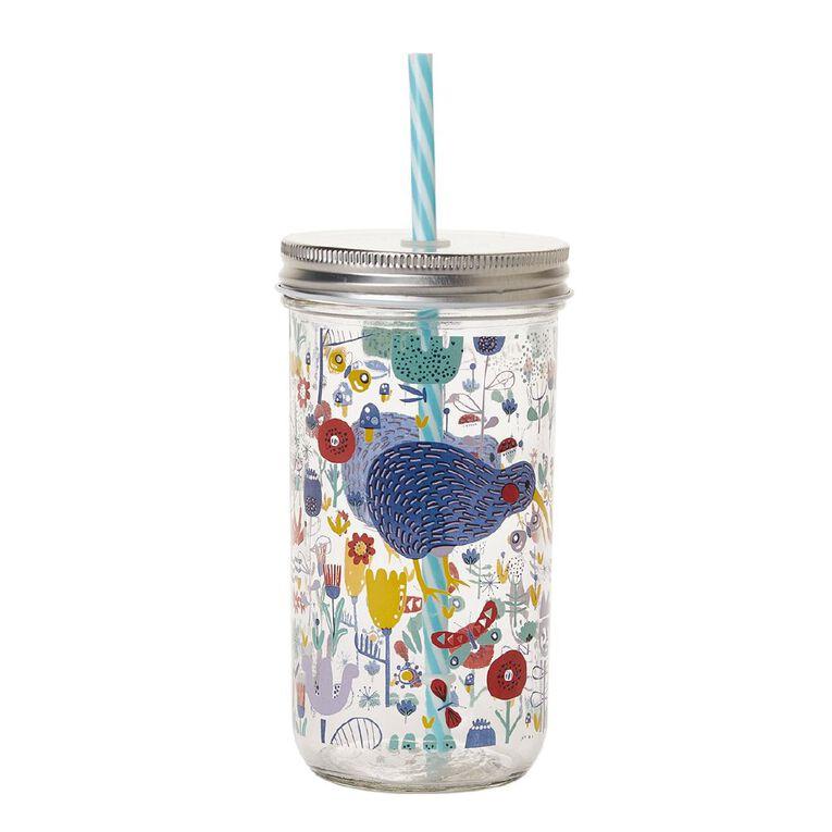 Living & Co Kids Kiwiana Mason Jar With Straw 600ml, , hi-res