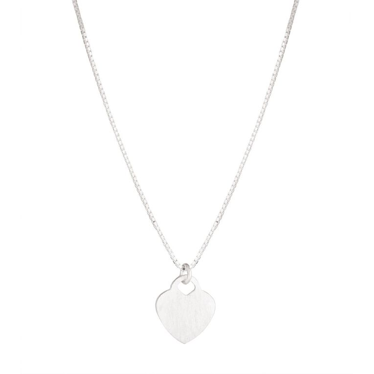 Sterling Silver Flat Heart Necklace, , hi-res
