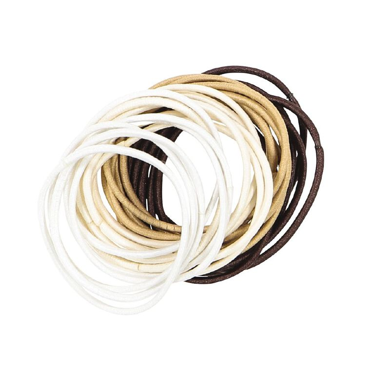 Colour Co. Hair Thin Snagless Elastics Blonde to Brunette 24 Pack, , hi-res