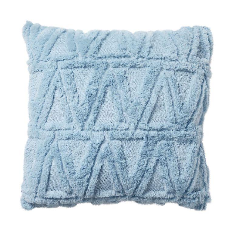 Living & Co Carved Fleece Cushion Icy Blue 40cm x 40cm, Blue, hi-res