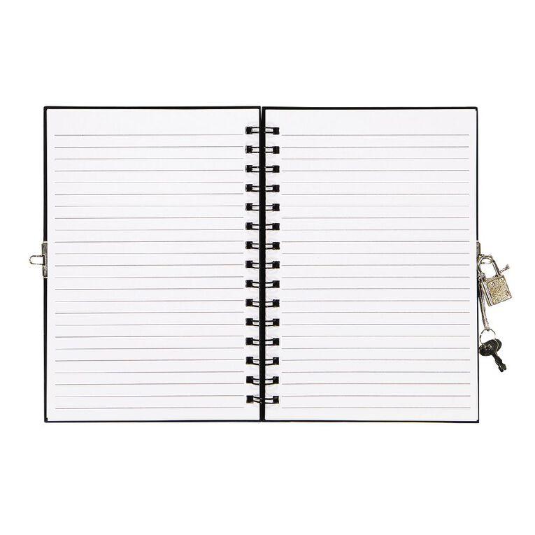 Kookie Space Lock Notebook With Pen Black A5, , hi-res