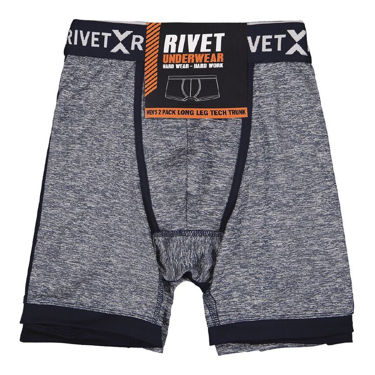 Rivet Men's Long Leg Trunk 2 Pack, Navy, hi-res image number null