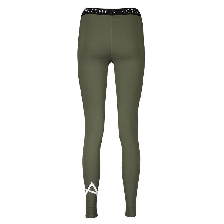 Active Intent Women's Grit Interlock Branded Leggings, Green Dark, hi-res