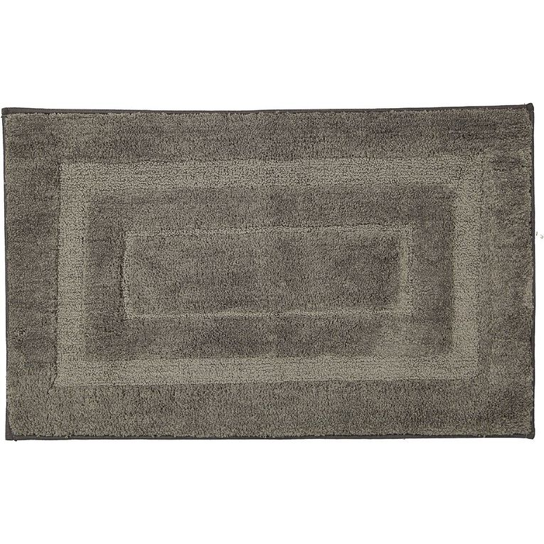 Living & Co Bath Mat Vienna Tufted Microfibre Pewter 50cm x 80cm, Pewter, hi-res image number null