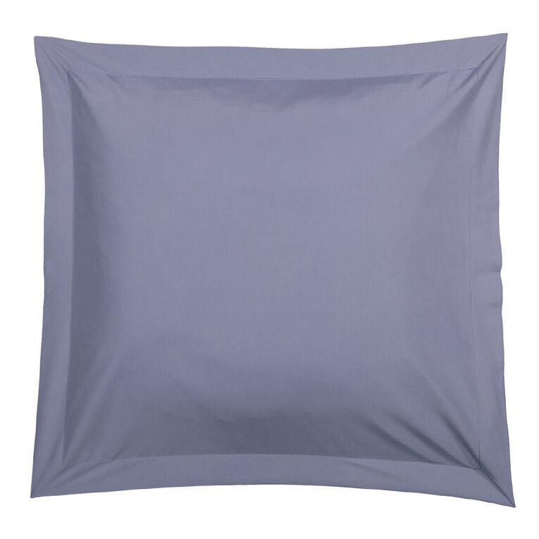 Living & Co Pillowcase Euro Cotton Rich 270TC Blue 65cm x 65cm, Blue, hi-res