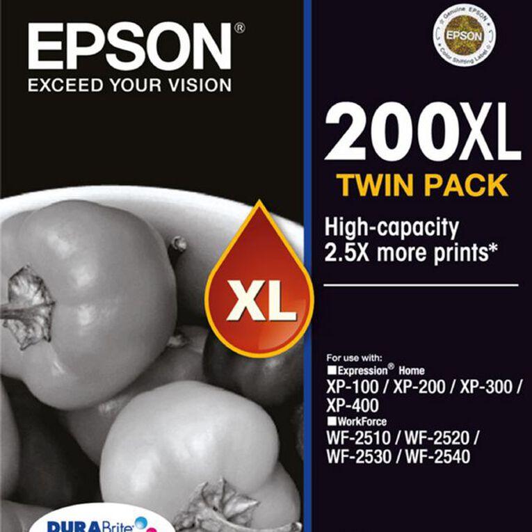 Epson Ink 200XL Black 2 Pack, , hi-res