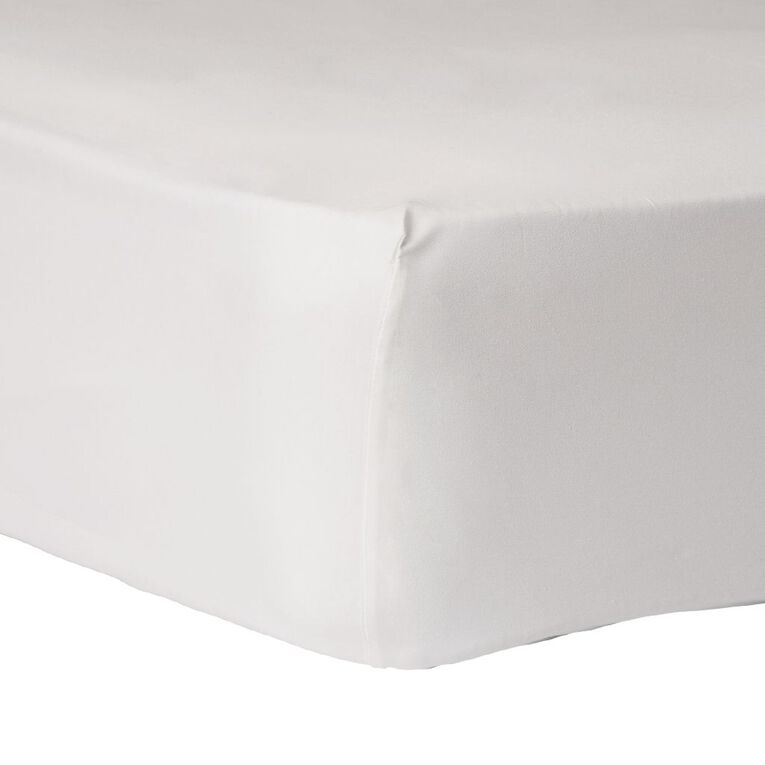 Living & Co Sheet Fitted Cotton Rich 270 Thread Count White Queen, White, hi-res