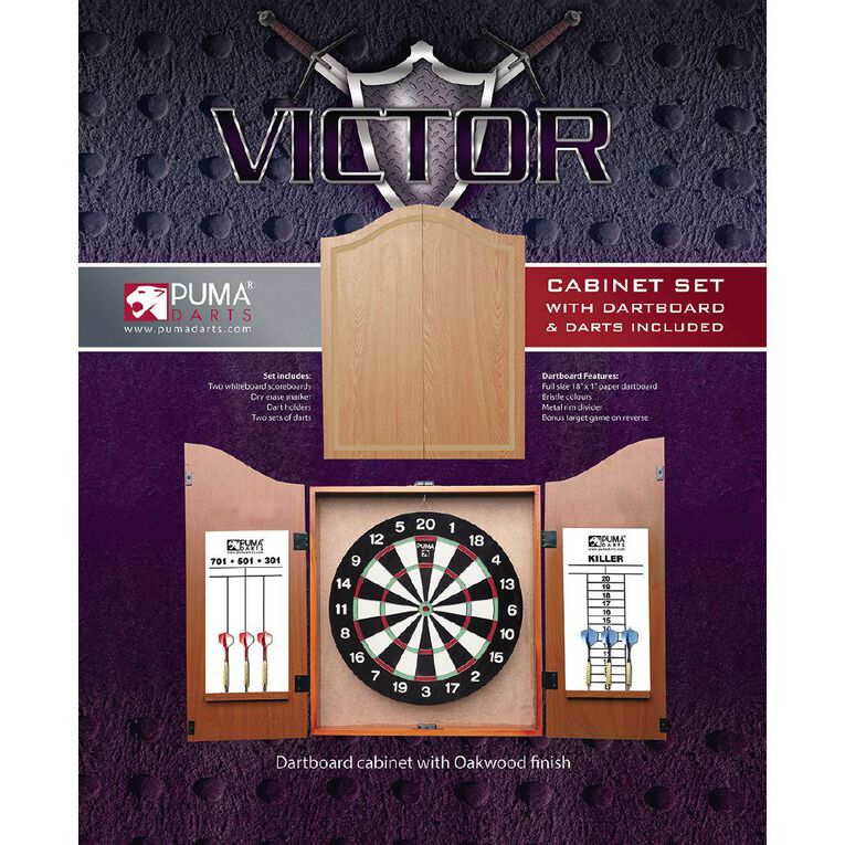 Puma Darts Dartboard Cabinet & Darts Set, , hi-res