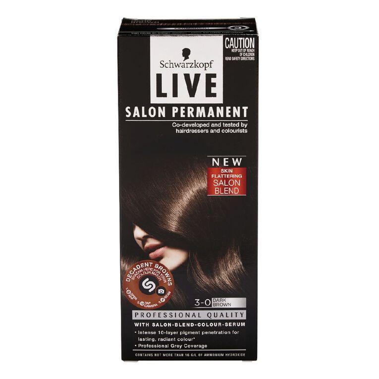 Schwarzkopf Live Salon Permanent 3-0 Dark Brown, , hi-res
