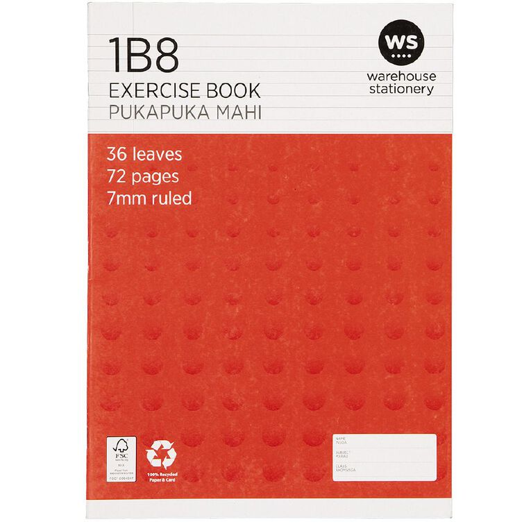 WS Exercise Book 1B8 7mm Ruled 36 Leaf Red, , hi-res