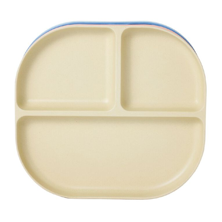 Living & Co Bamboo Bento Plate Multi-Coloured 4 Pack, , hi-res
