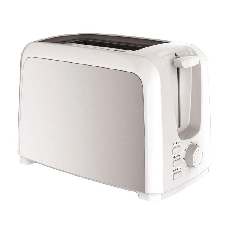 Living & Co Toaster Metal Side 2 Slice White, , hi-res