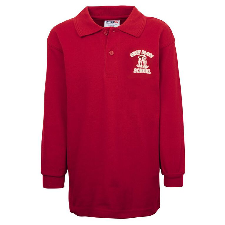 Schooltex Greymouth Main Long Sleeve Polo with Transfer, Red, hi-res