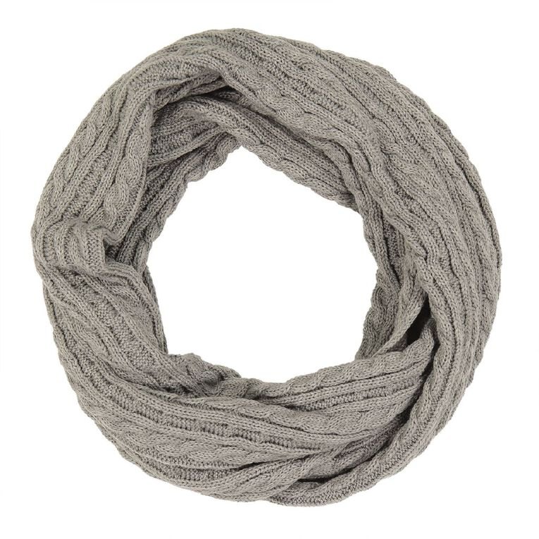 H&H Cable Knit Snood, Grey Marle, hi-res