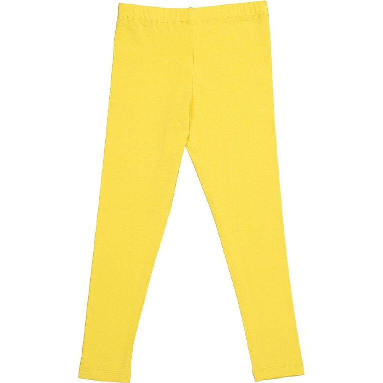 Young Original Girls' 7/8 Plain Leggings, Yellow Mid, hi-res