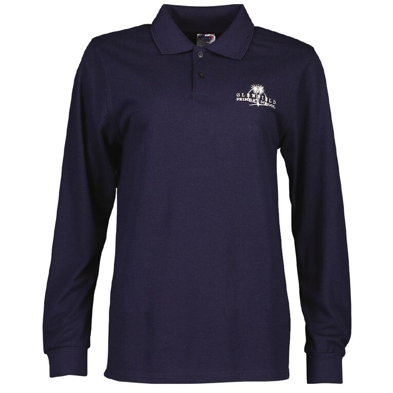 Schooltex Glenfield Long Sleeve Polo with Embroidery, Navy, hi-res