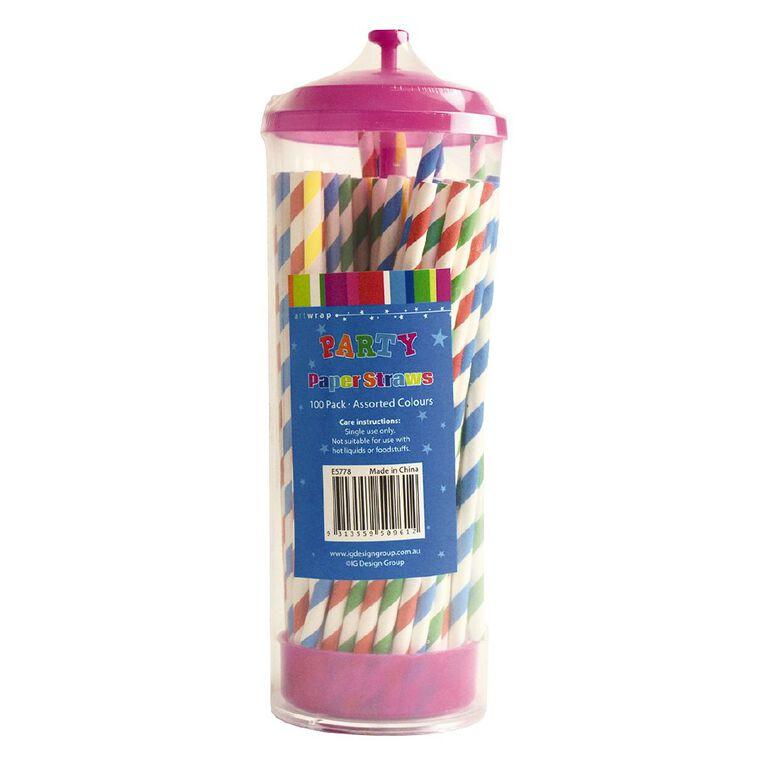 Artwrap Paper Straws & Dispenser Assorted 100 Pack, , hi-res