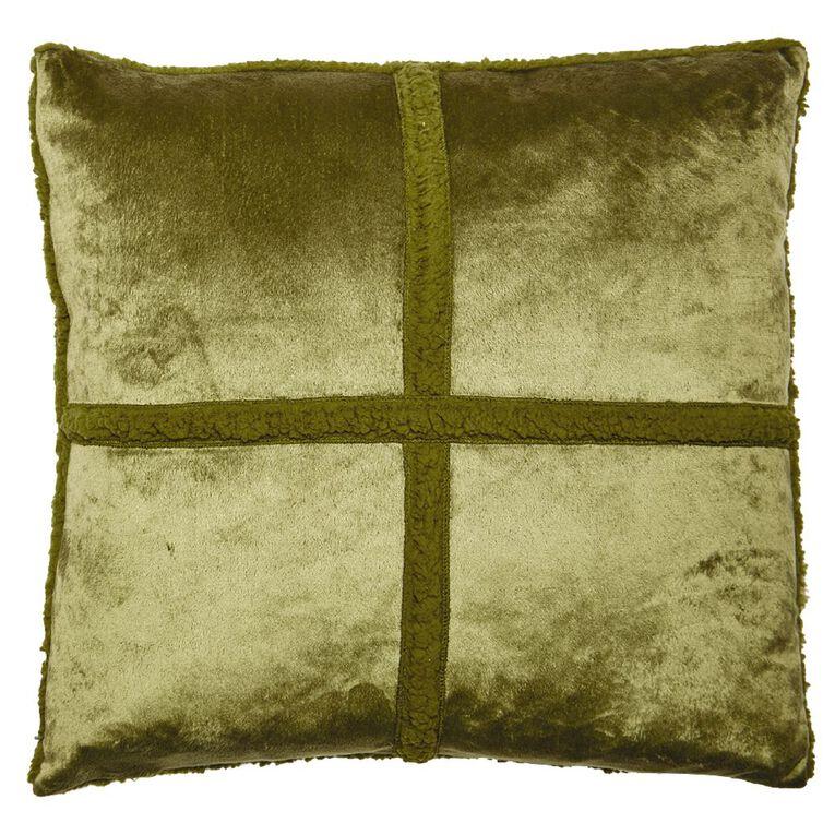 Living & Co Sherpa Cross Cushion Olive Branch Green Light 50cm x 50cm, Green Light, hi-res