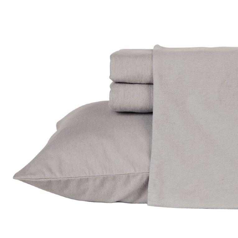 Living & Co Sheet Set Cotton Flannelette High Rise Grey King, Grey, hi-res
