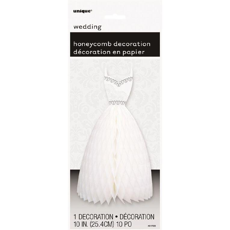 Unique Wedding Dress Honeycomb Decoration 25.4 cm White, , hi-res