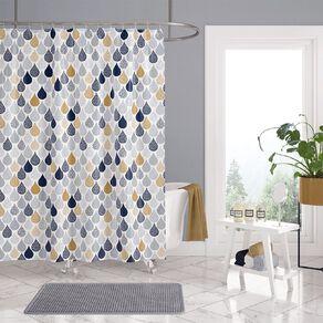 Living & Co Shower Curtain Print Droplets 180cm x 180cm