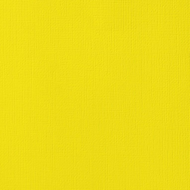 American Crafts Cardstock Textured Lemon Yellow 12in x 12in, , hi-res