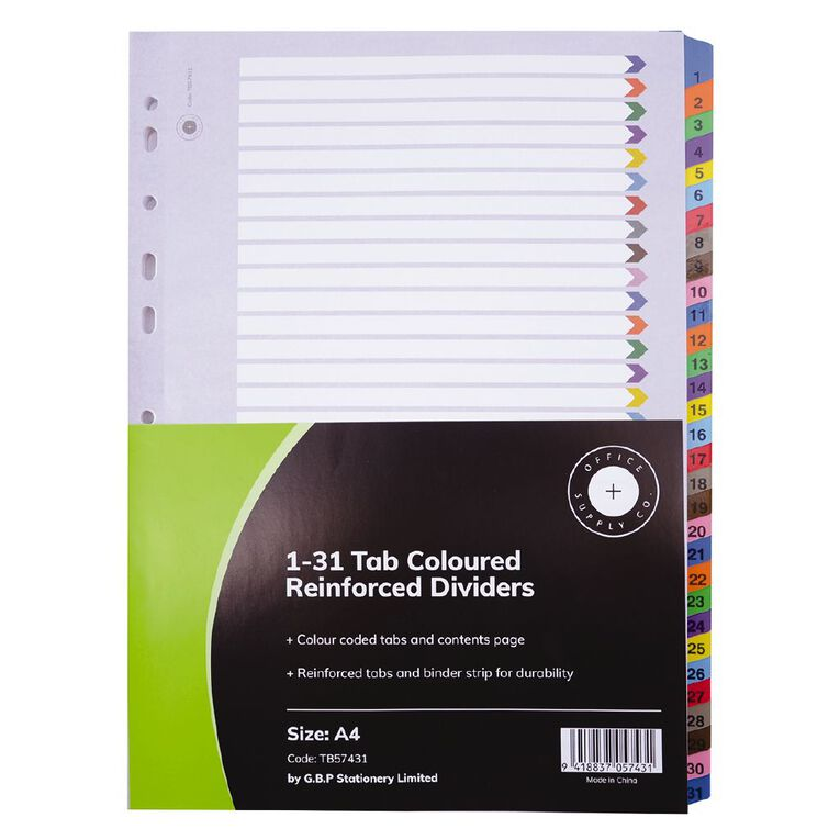 Office Supply Co 1-31 Tab Coloured Manilla Dividers, , hi-res