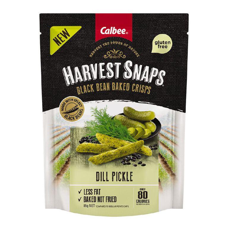 Calbee Harvest Snaps Black Bean Crisps Dill Pickle 85g, , hi-res