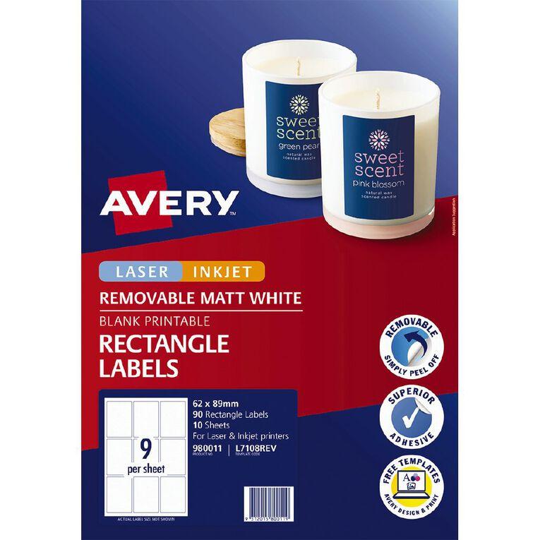 Avery Removable Matt Rectangle Labels 62 x 89 mm 90 Labels, , hi-res