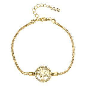 Mestige Gold Plated Swarovski Crystal Tree Of Life Bracelet