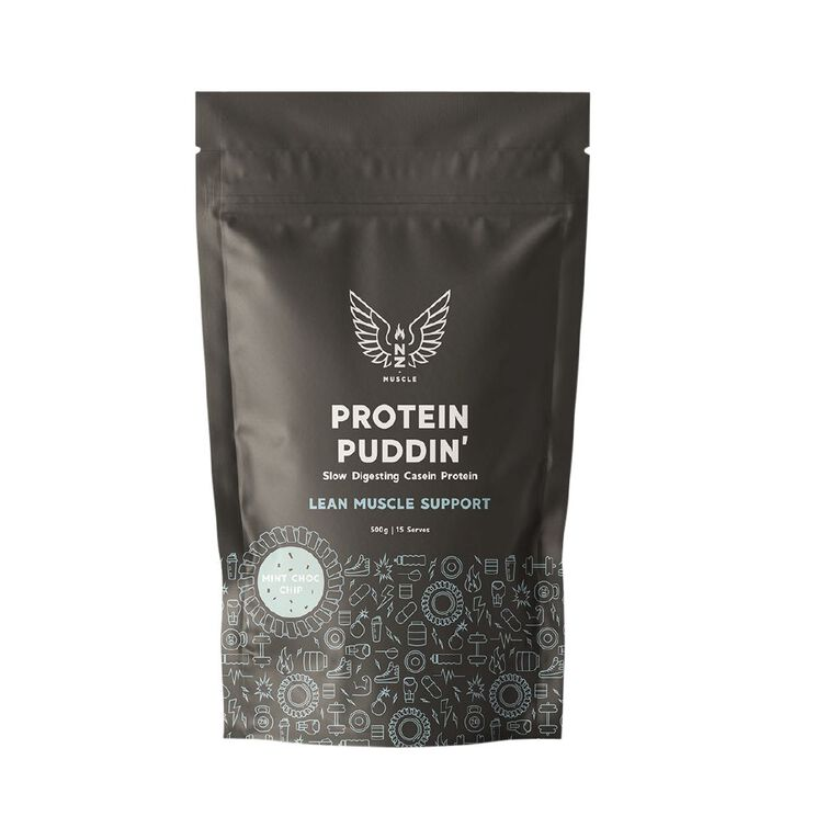 NZ Muscle Protein Puddin Mint Choc Chip 500g, , hi-res