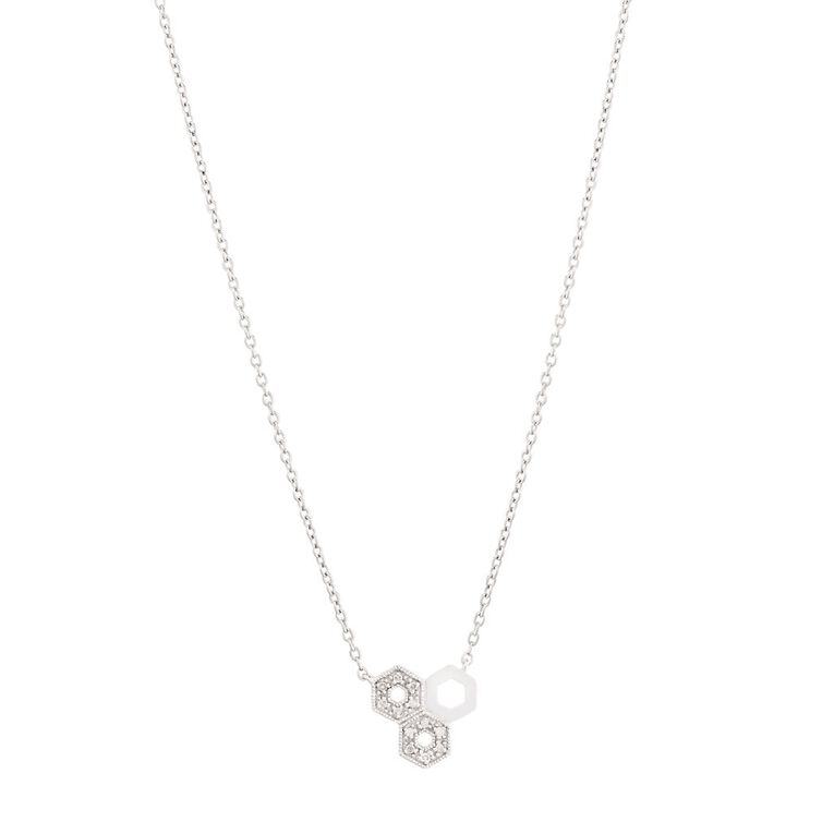 0.05 Carat Diamond Sterling Silver Honeycomb Necklace, , hi-res
