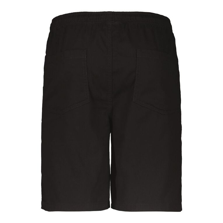 H&H Men's Elastic Waist Plain Drill Shorts, Black, hi-res