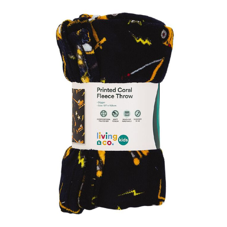 Living & Co Kids Throw Coral Fleece Diggers Yellow One Size, , hi-res