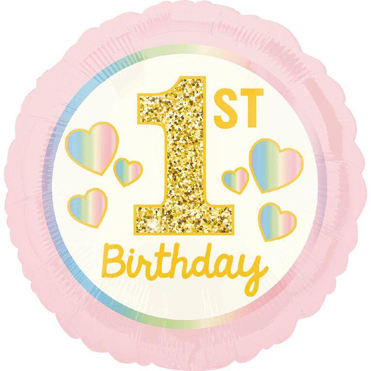 Anagram Girl 1st Birthday Pink & Gold Foil Balloon Standard 17in, , hi-res