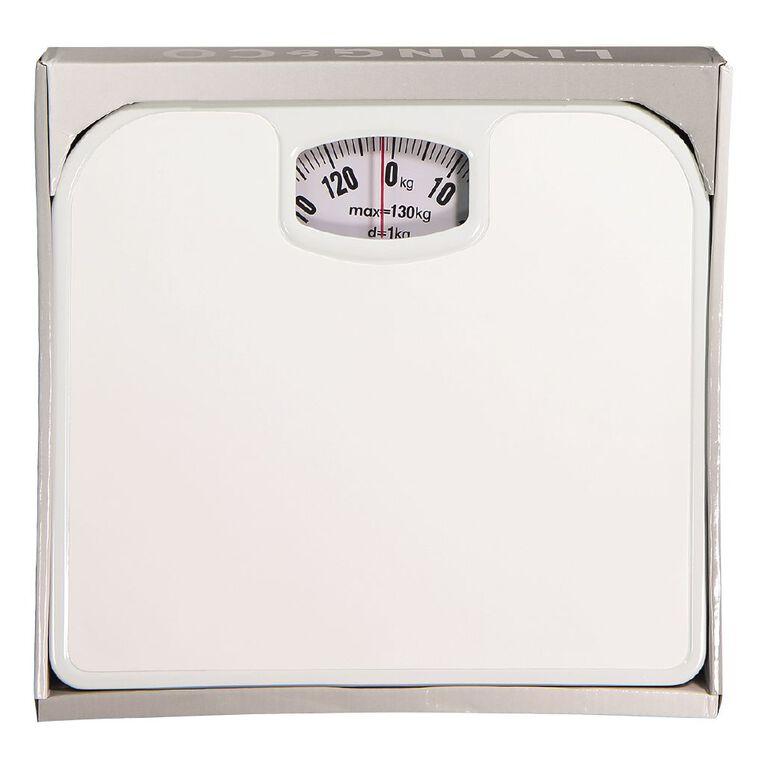 Living & Co Bathroom Scale Mechanical White 24cm x 26.5cm x 4cm, White, hi-res