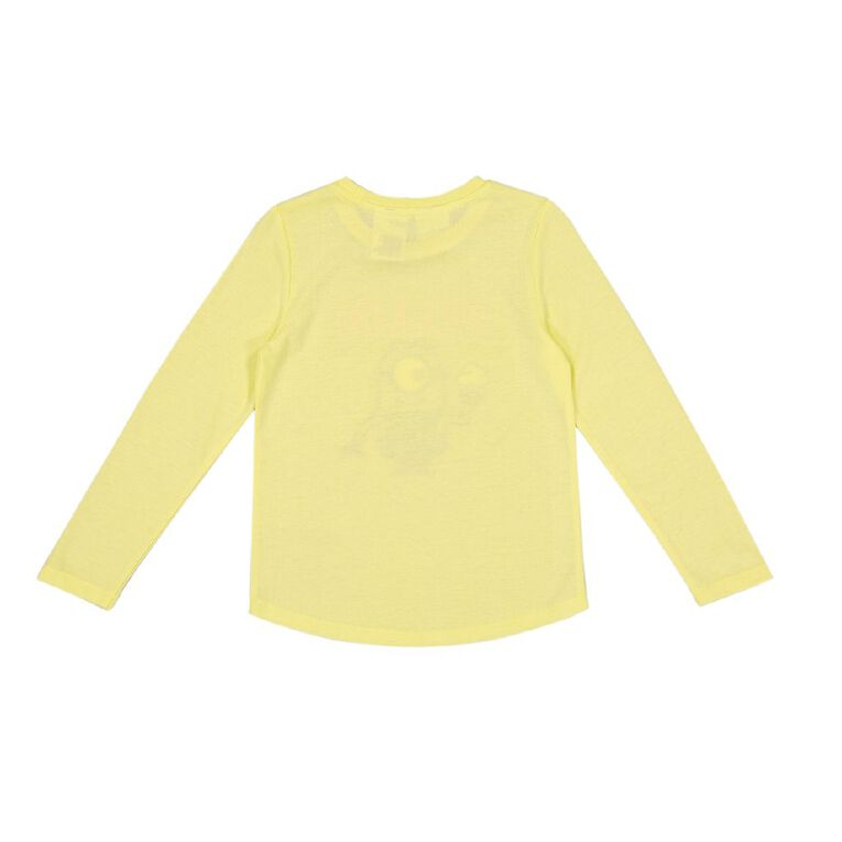 Minions Girls' Long Sleeve Print Tee, Yellow, hi-res