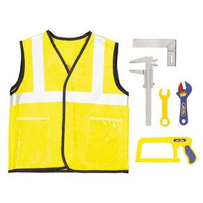 Play Studio Construction Worker Costume with Tool Set Size 3-7