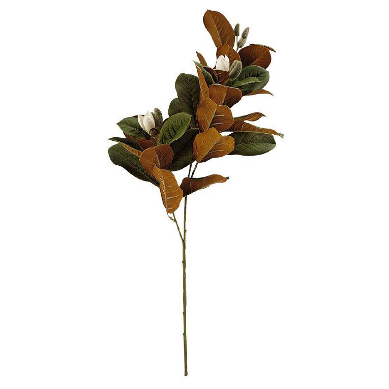 Living & Co Artificial Magnolia Leaf Stem Green 67cm, , hi-res